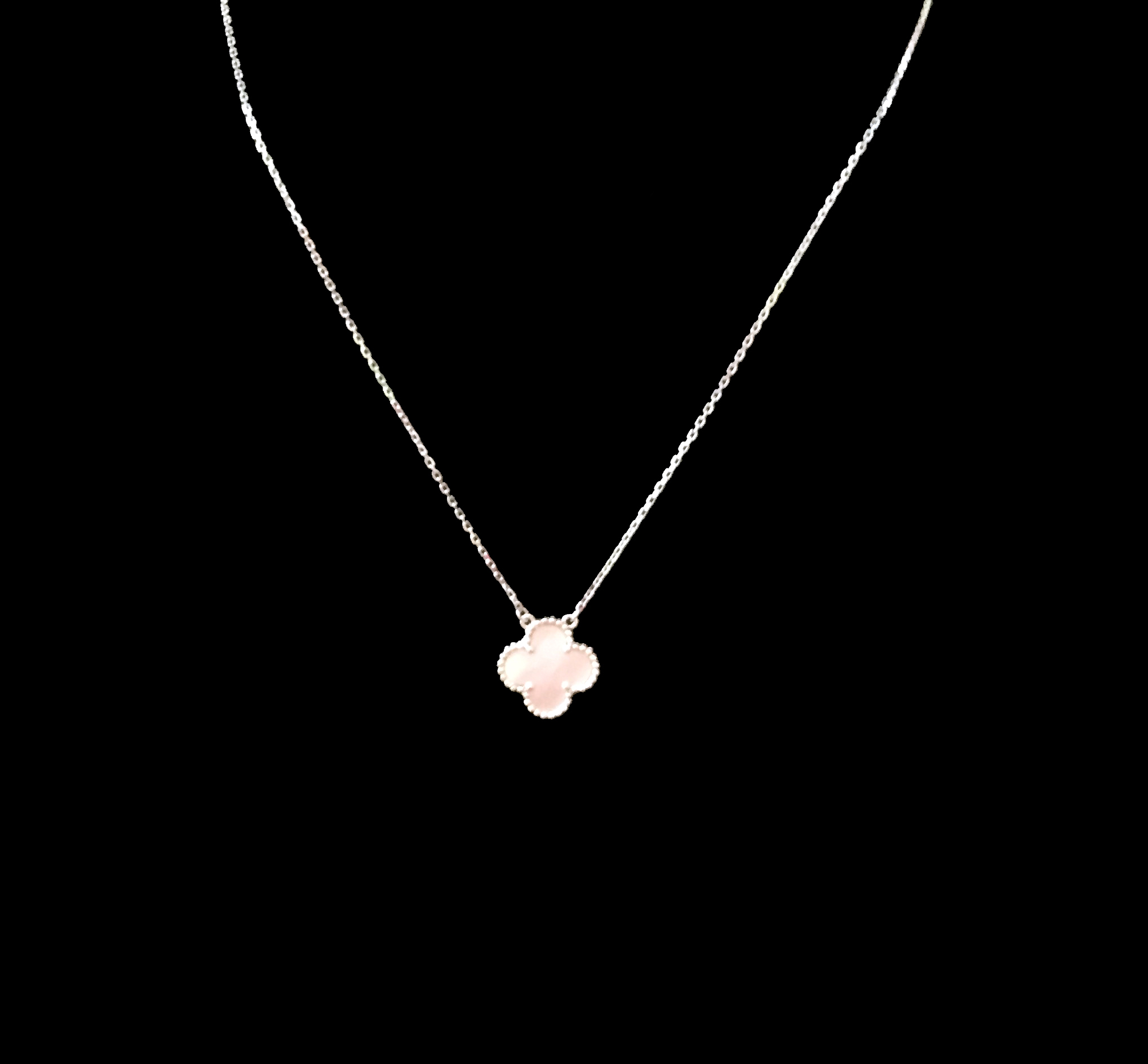 Van Cleef Clover Necklace: Sterling Silver Single Clover Necklace With Mother Of