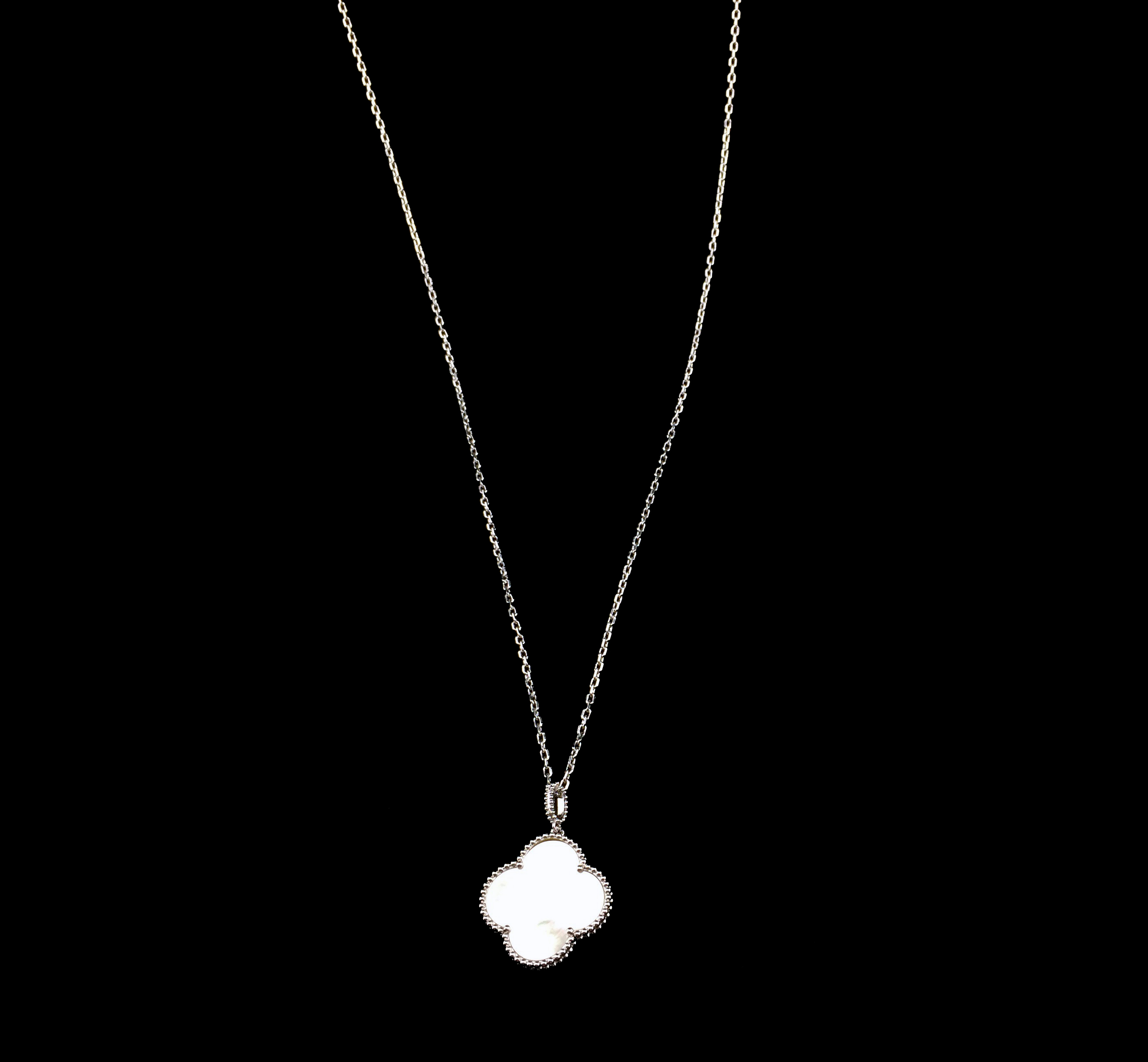 Clover Necklace Van Cleef: Sterling Silver Large Mother Of Pearl Single Clover
