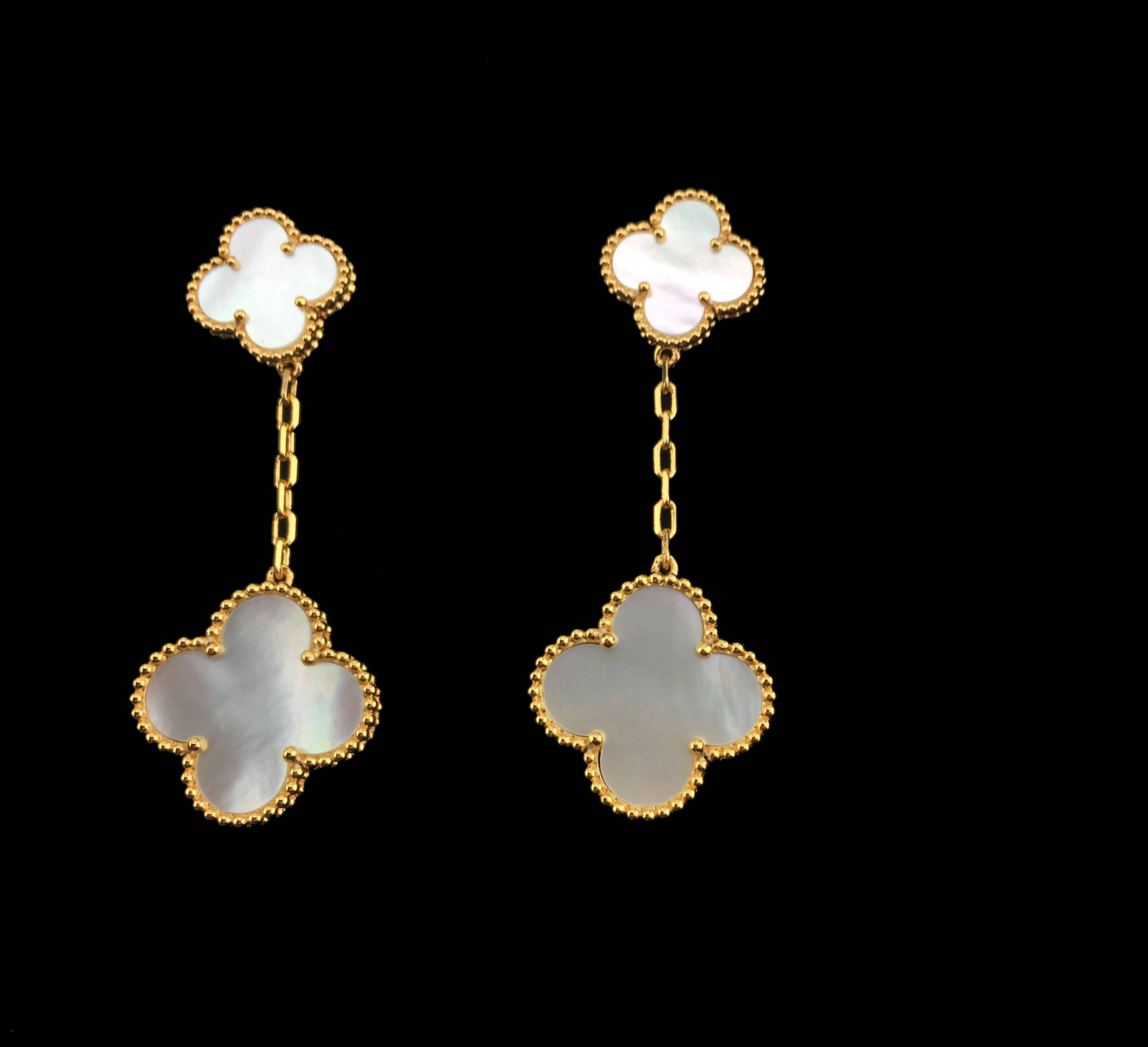 Gold Mother Of Pearl Clover Earrings 2 Motifs Inspired Van