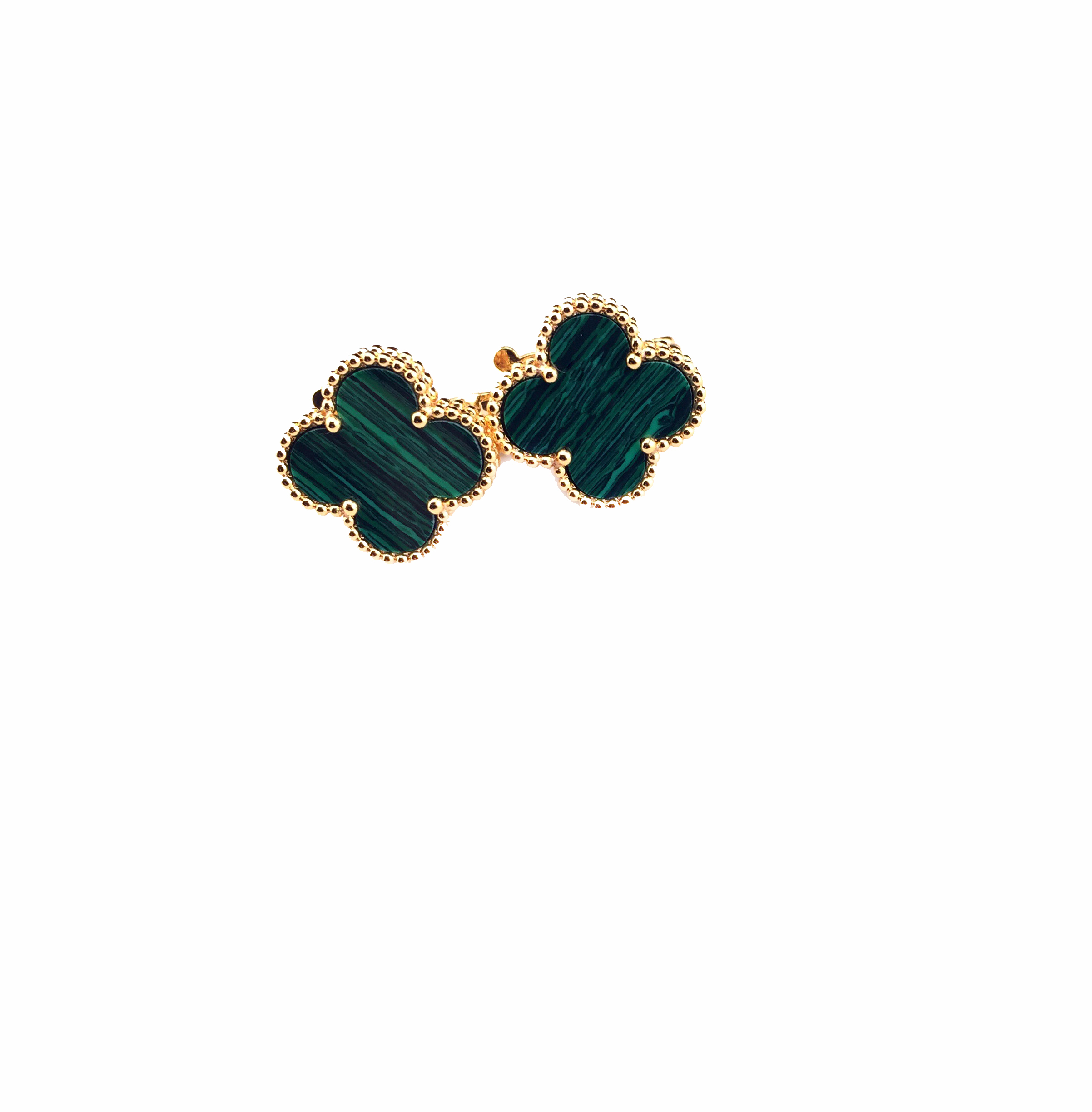 18k Gold Plated Clover Earrings With Green Malachite Inspired