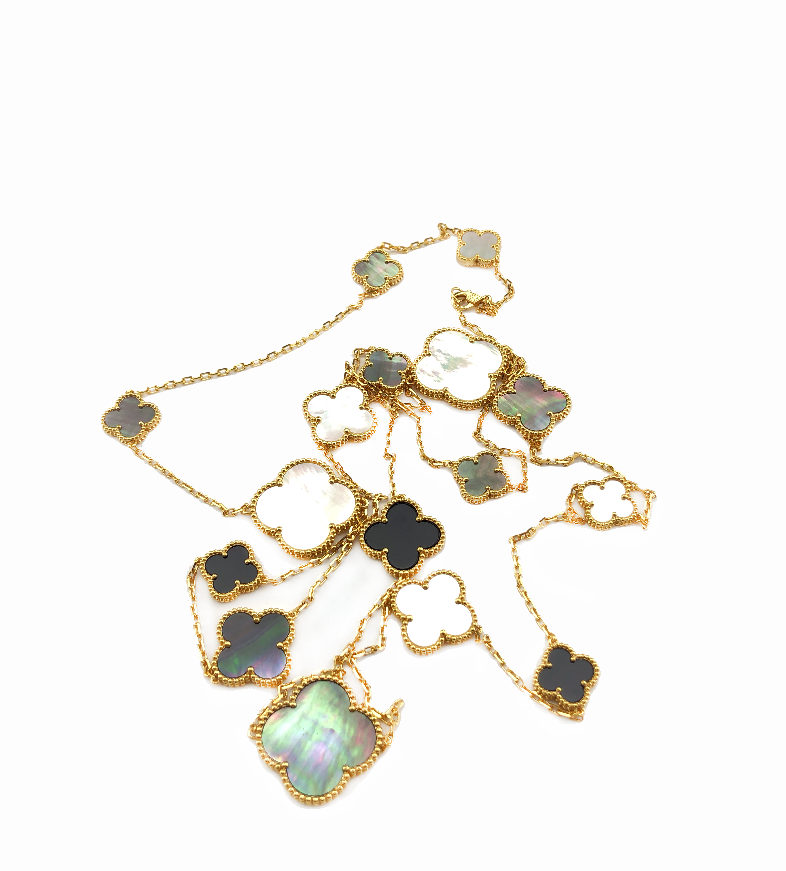 Clover Necklace Van Cleef: 18K Gold Plated Large Clover Necklace 16 Motifs Inspired